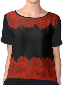 Flower frame. Floral border. Bouquet of red poppy on black background. Chiffon Top