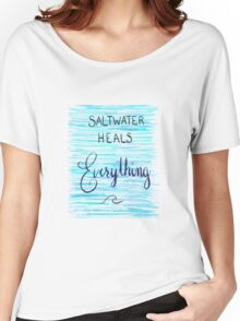 Saltwater Heals Everything Wave Symbol Women's Relaxed Fit T-Shirt