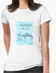 Saltwater Heals Everything Wave Symbol Womens Fitted T-Shirt