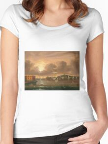 Thomas Chambers - Threatening Sky, Bay Of New York. Sea landscape: sea view,  yachts,  holiday, sailing boat, coast seaside, waves and beach, marine, seascape, sun clouds, nautical, ocean Women's Fitted Scoop T-Shirt