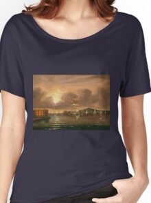Thomas Chambers - Threatening Sky, Bay Of New York. Sea landscape: sea view,  yachts,  holiday, sailing boat, coast seaside, waves and beach, marine, seascape, sun clouds, nautical, ocean Women's Relaxed Fit T-Shirt