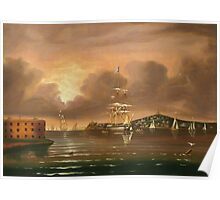 Thomas Chambers - Threatening Sky, Bay Of New York. Sea landscape: sea view,  yachts,  holiday, sailing boat, coast seaside, waves and beach, marine, seascape, sun clouds, nautical, ocean Poster