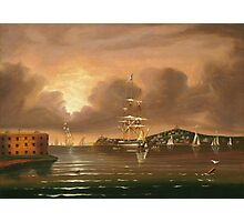 Thomas Chambers - Threatening Sky, Bay Of New York. Sea landscape: sea view,  yachts,  holiday, sailing boat, coast seaside, waves and beach, marine, seascape, sun clouds, nautical, ocean Photographic Print