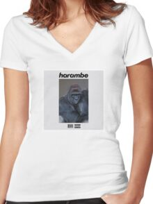 Harambe Blond Women's Fitted V-Neck T-Shirt