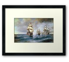 Aivasovsky Ivan - Brig Mercury Attacked By Two Turkish Ships 1892 Framed Print