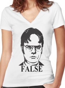 Dwight Schrute False The Office Women's Fitted V-Neck T-Shirt