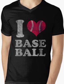 Vintage I Love Baseball Mens V-Neck T-Shirt