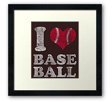 Vintage I Love Baseball Framed Print