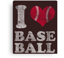 Vintage I Love Baseball Canvas Print