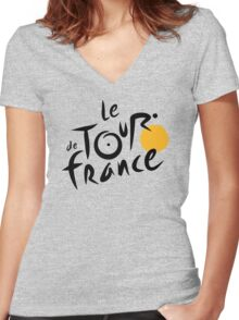 Tour De France Bicycle Racing Women's Fitted V-Neck T-Shirt