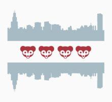 Chicago Flag Cubs Skyline One Piece - Short Sleeve