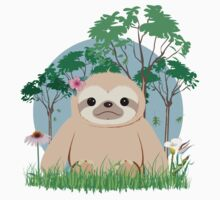 Super Cute Sloth sitting on the grass.  Kids Tee