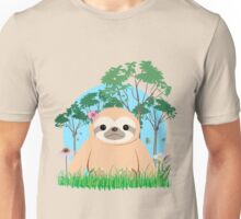 Super Cute Sloth sitting on the grass.  Unisex T-Shirt
