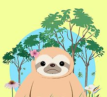 Super Cute Sloth sitting on the grass.  by J. Danion