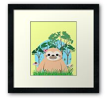 Super Cute Sloth sitting on the grass.  Framed Print