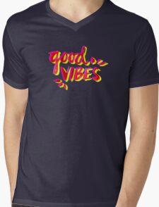 Good Vibes – Pink & Yellow Mens V-Neck T-Shirt