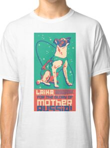 Laika Space Dog Illustration Vector Russian Propaganda Pup Retro Vintage Classic T-Shirt