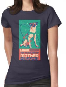 Laika Space Dog Illustration Vector Russian Propaganda Pup Retro Vintage Womens Fitted T-Shirt