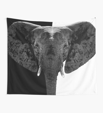SAFARI PROFILE - ELEPHANT BLACK&WHITE EDITION Wall Tapestry