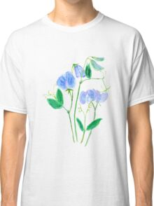 blue sweet peas flowers watercolor painting  Classic T-Shirt