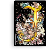 """The Illustrated Alphabet Capital  J  """"Getting personal"""" from THE ILLUSTRATED MAN Canvas Print"""