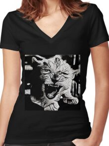Angry Lion Cub Women's Fitted V-Neck T-Shirt