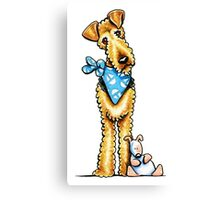 Airedale Terrier & Puppy Canvas Print
