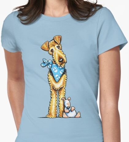 Airedale Terrier & Puppy Womens Fitted T-Shirt