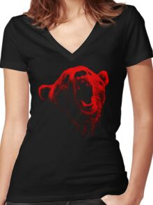 Bear Face Women's Fitted V-Neck T-Shirt