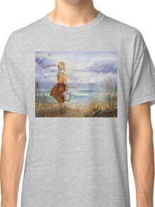 Girl Ocean Beach Sailboat Birds and Seashell Classic T-Shirt
