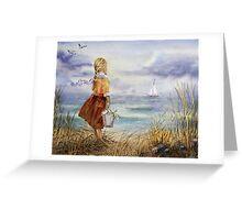 Girl Ocean Beach Sailboat Birds and Seashell Greeting Card