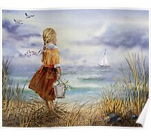 Girl Ocean Beach Sailboat Birds and Seashell Poster