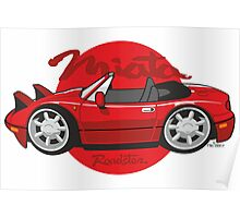 Mazda Miata cartoon red Poster