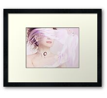 Woman holding a glowing magical bird in her hand art photo print Framed Print