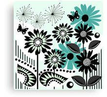 Cute flowers, leaves, butterflies and stripes Canvas Print