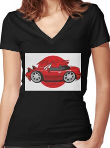 Mazda MX-5 cartoon red Women's Fitted V-Neck T-Shirt