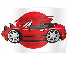 Mazda MX-5 cartoon red Poster