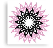 Pink And Black Modern Floral Pattern Canvas Print