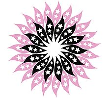 Pink And Black Modern Floral Pattern Photographic Print