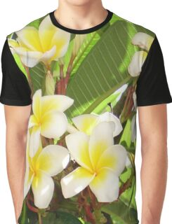 White and Yellow Frangipani Flowers with Leaves in Background  Graphic T-Shirt