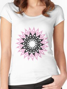 Pink And Black Modern Floral Pattern Women's Fitted Scoop T-Shirt