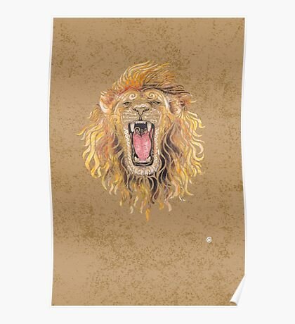 Swirly Lion Poster