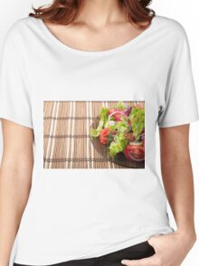 Vegetarian salad from fresh vegetables on a bamboo mat Women's Relaxed Fit T-Shirt
