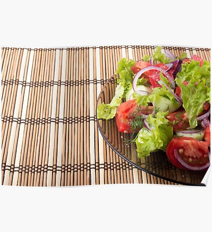 Vegetarian salad from fresh vegetables on a bamboo mat Poster