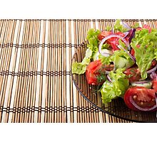 Vegetarian salad from fresh vegetables on a bamboo mat Photographic Print