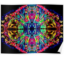 Abstract Psychedelic Rainbow Gem on Black Poster