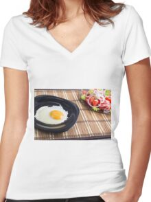 Natural homemade breakfast of fried egg and salad Women's Fitted V-Neck T-Shirt