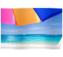 Beach umbrella by the ocean Poster