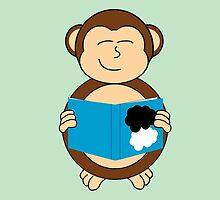 Monkey reading a book by whoviandrea