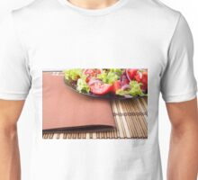 Foodstyle background closeup view of a plate with fresh salad Unisex T-Shirt